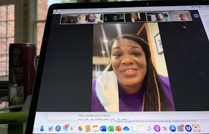 Cori Bush speaks to phonebook volunteers via Zoom