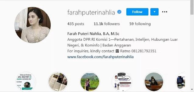 Akun Instagram milik Farah Puteri Nahlia, putri dari Kapolda Metro Jaya Irjen Pol Fadil Imran