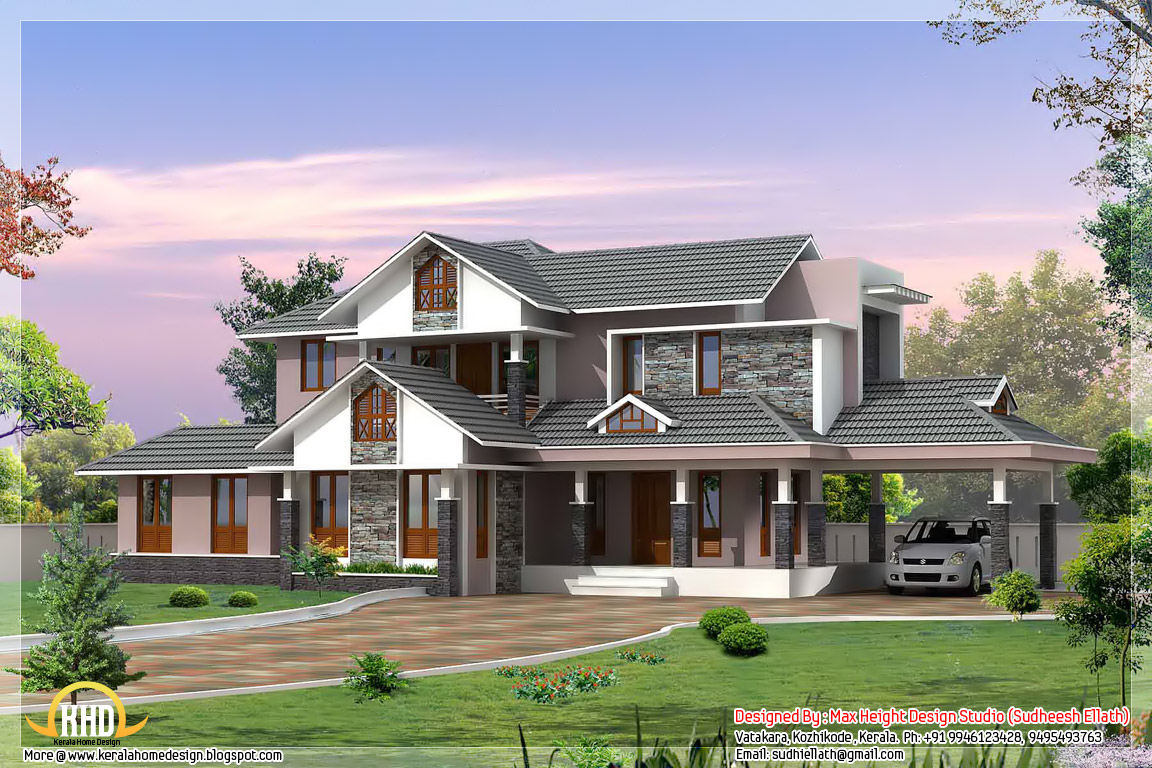 3d Wallpaper In Bangalore 3 Kerala Style Dream Home Elevations Kerala Home Design