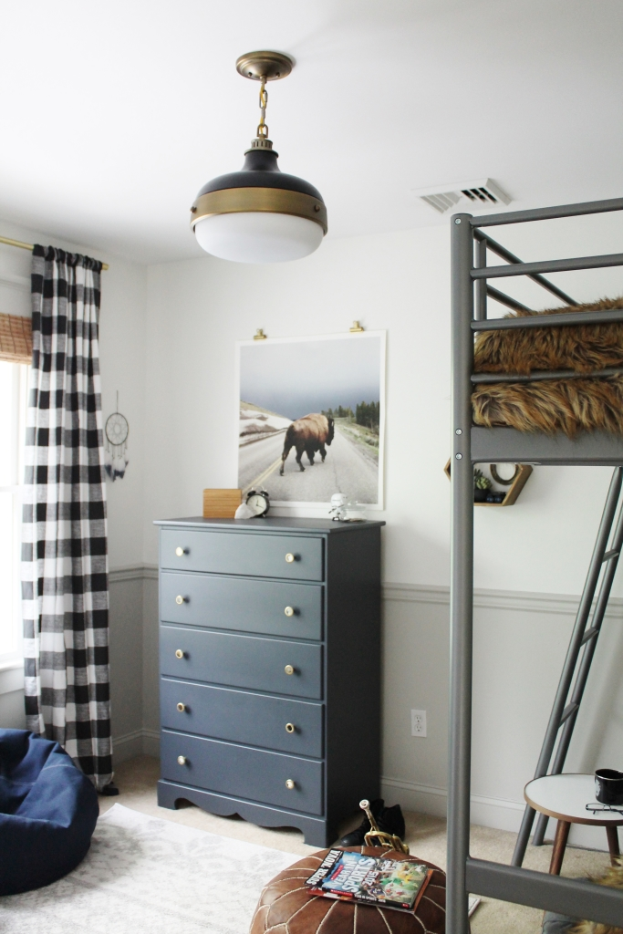 Rustic Boys Teen Room with Chair Rail