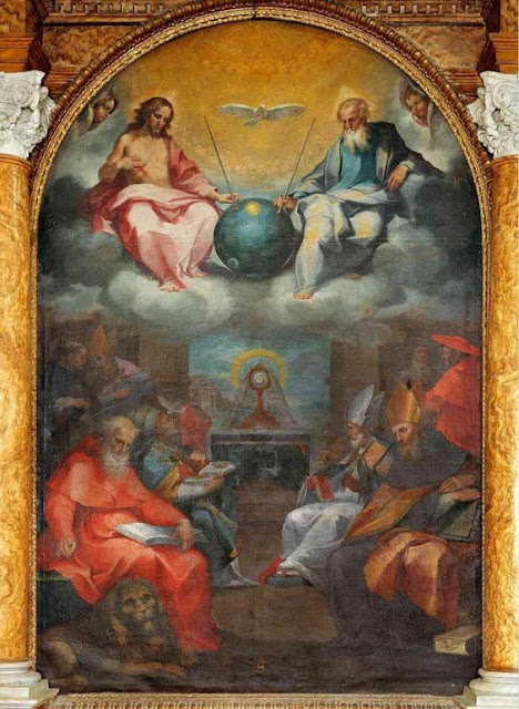 The-Glorification-of-the-Eucharist-painted-by-Bonaventura-Salimbeni-in-1600-shows-a-satellite-yet-to-be-created.