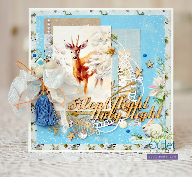 silent night card | Eyelet Outlet DT @akonitt #card #cards #eyeletoutlet #by_marina_gridasova #scrapberrys #ikropka #chipboard #enamels #enameldots #dies