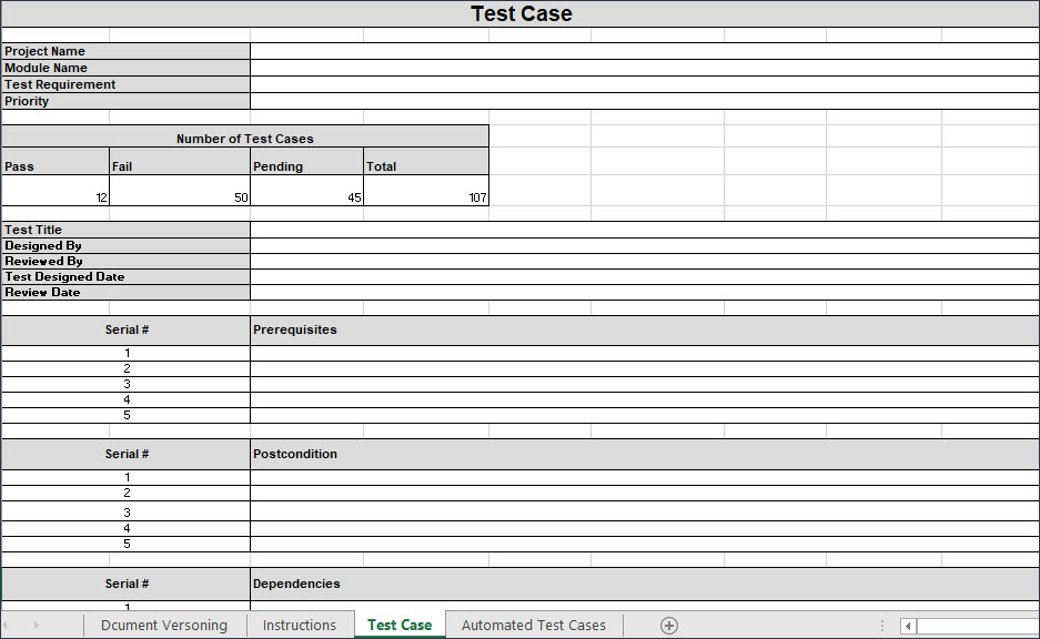 Test Case Template Excel, test cases template