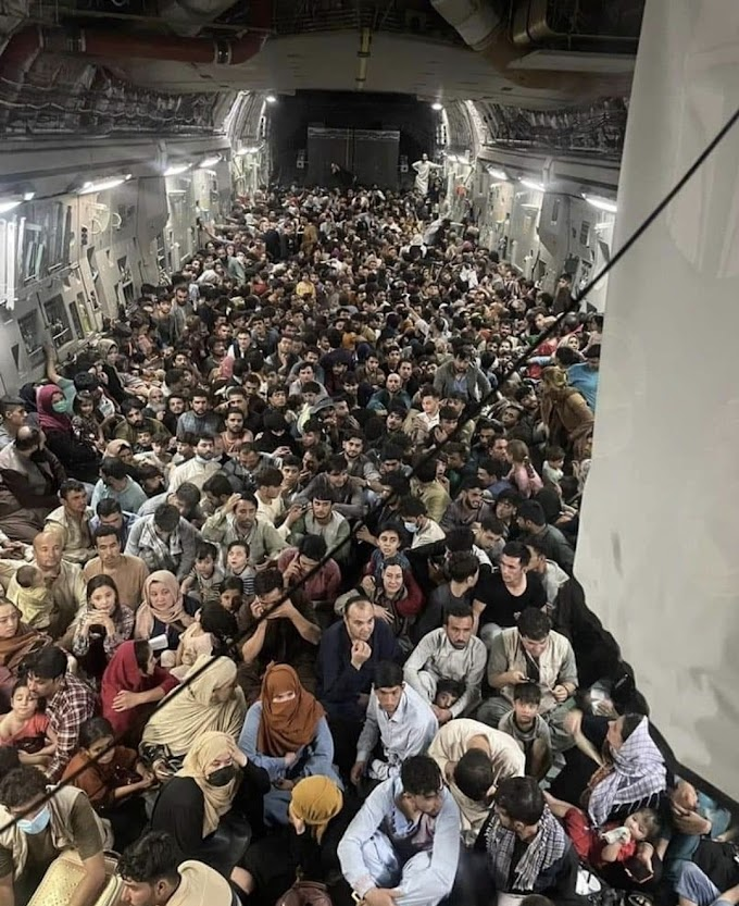 Shocking photo show 640 Afghans crammed into fleeing US Air Force plane