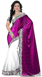 Partywear Velvet Embroidered Regular Sarees
