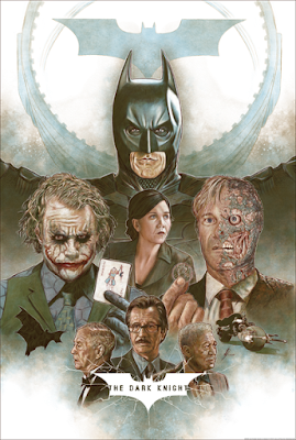 New York Comic Con 2020 Exclusive The Dark Knight Trilogy Triptych Screen Print Set by Neil Davies x Grey Matter Art