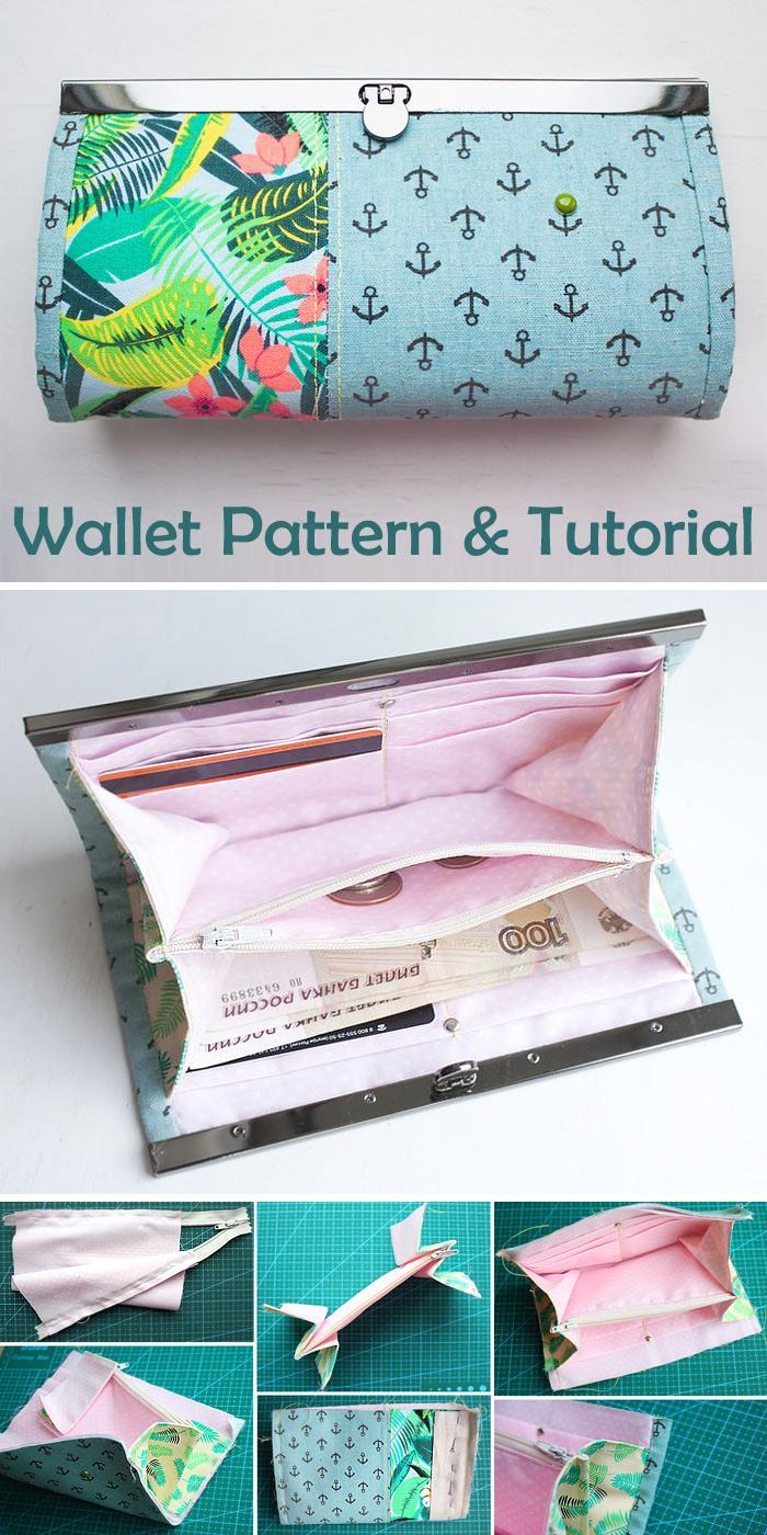 Wallet with a flat lock. Tutorial & Pattern