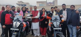 आसाम से निकले बाइक राइडर्स का मथुरा में किया गया जोशीला स्वागत