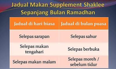 Jadual makan supplemen shaklee ketika puasa, jadual makan vitamin shaklee semasa puasa, cara makan vitamin ketika puasa. makan vitamin ketika puasa, bolehkah makan vitamin shaklee ketika puasa