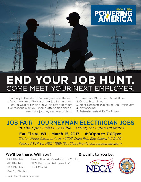 ELECTRICIAN JOBS WISCONSIN: HIRING NOW IN EAU CLAIRE