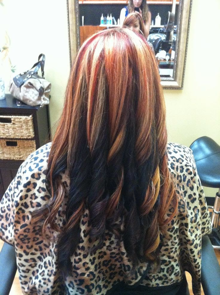 Dark Brown Hair With Red And Blonde Highlights Find Your Perfect