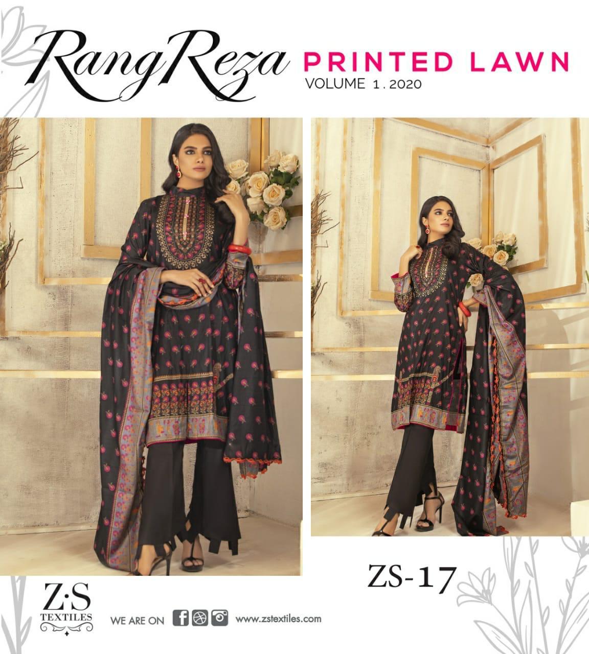 Zs Textile Reza Vol 1 Original Lawn Pakistani Collection 2020 New Design Diwan Fashion