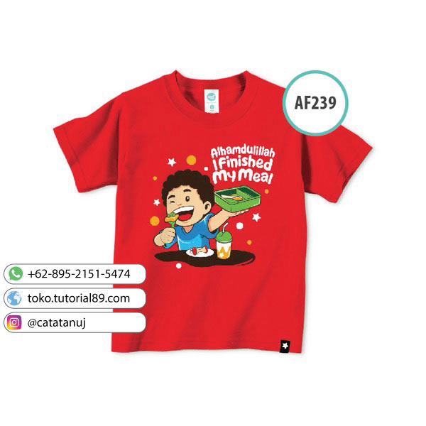 Kaos anak muslim Afrakids AF239 – Alhamdulillah I finished my meal