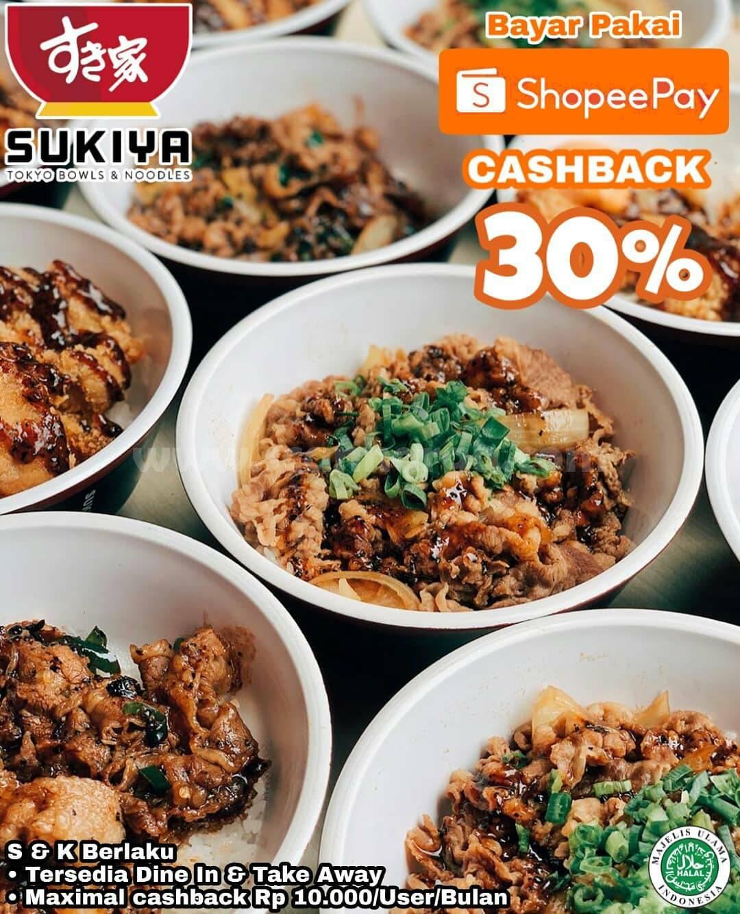 Promo Sukiya Diskon 30% Bayar Pakai ShopeePay
