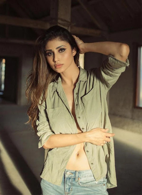 Mouni Roy Latest Photoshoot Stills in Unbuttoned Shirt and Jeans Navel Queens