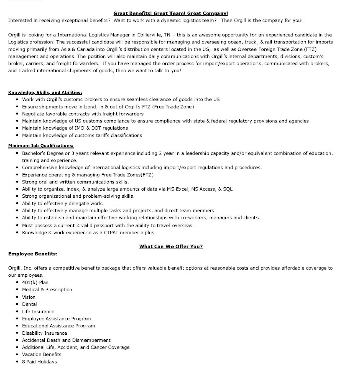 Jobs in Canada for International Logistics Manager
