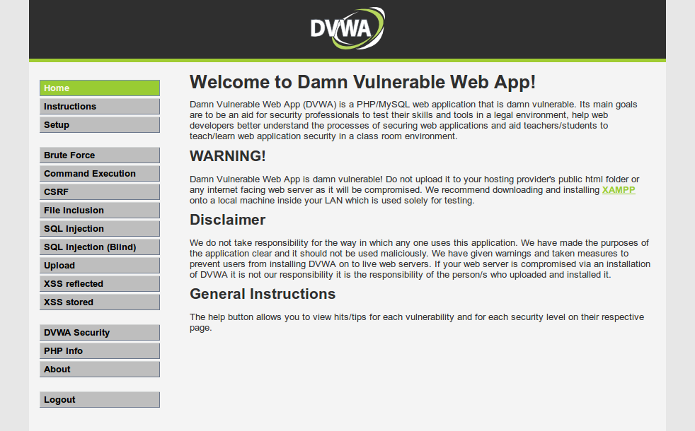 DVWA - Damn Vulnerable Web Application