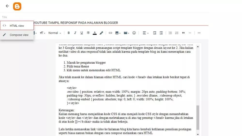 gunakan opsi penulisan html bukan compose