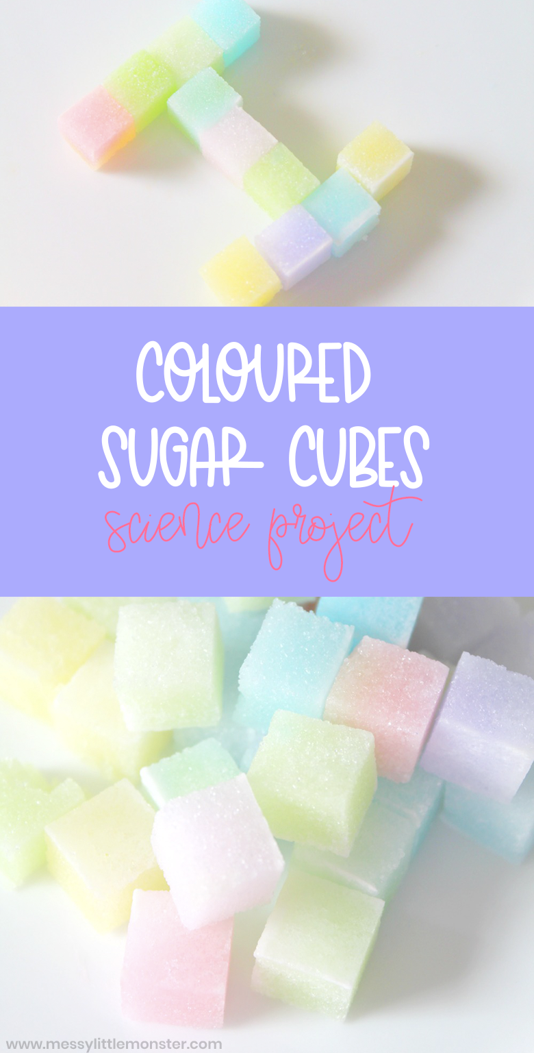 Coloured sugar cubes science project for kids. Colour activity and fine motor skills activity for preschoolers.
