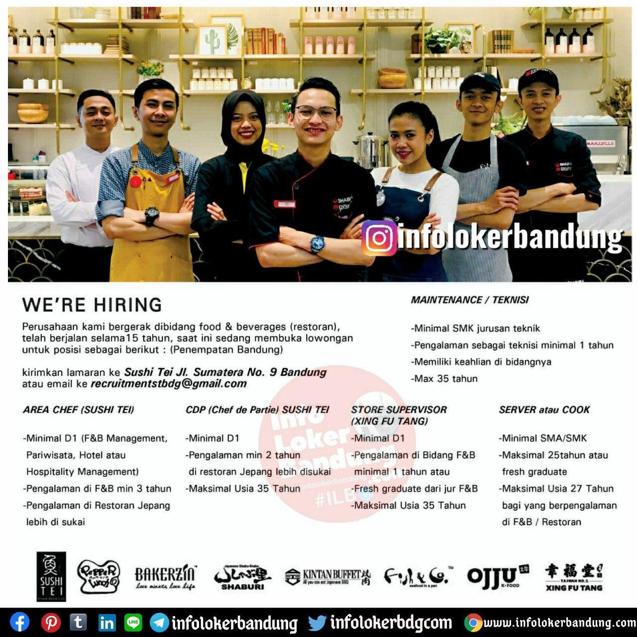 Lowongan Kerja Sushi Tei Group Bandung Agustus 2020