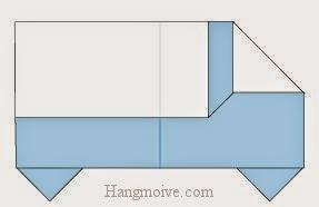 Bước 8: Hoàn thành cách xếp chiếc xe ô tô tải bằng giấy origami đơn giản.