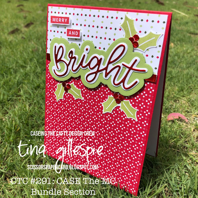 scissorspapercard, Stampin' Up!, CASEing The Catty, Peace & Joy, Itty Bitty Christmas, Joy Dies, Heartwarming Hugs DSP, Red Foil