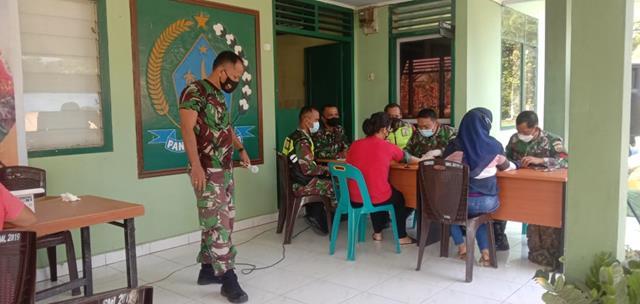 Pelaksanaan Vaksin Warga Masyarakat Didampingi Personel Jajaran Kodim 0207/Simalungun