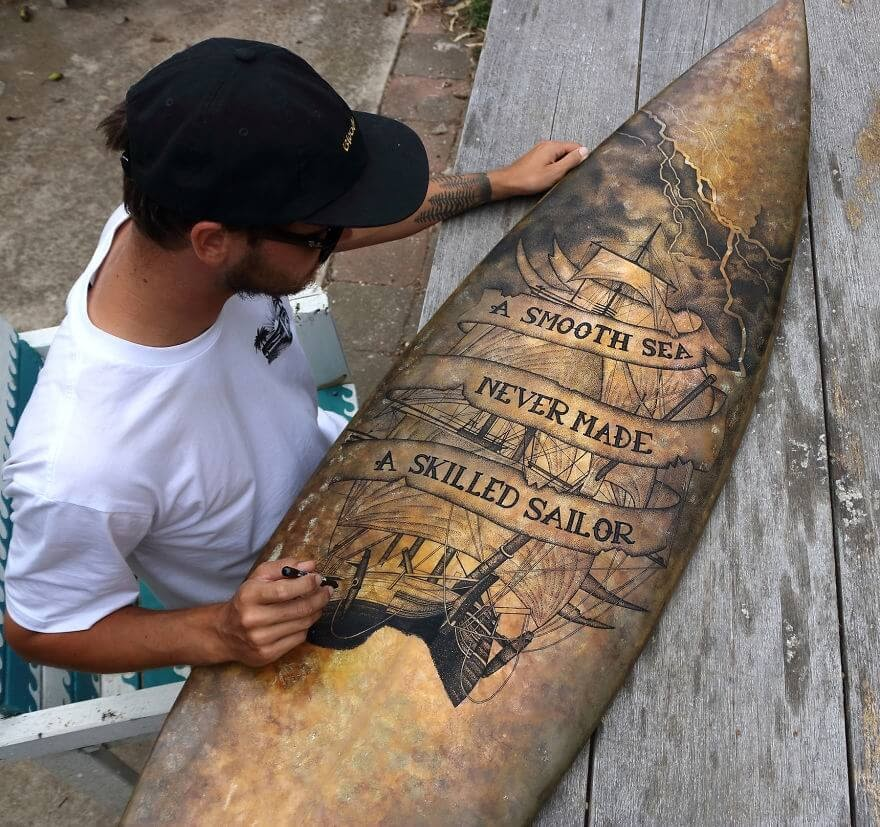 13-A-smooth-sea-never-made-a-skilled-sailor-Surfboard-Jarryn-Dower-www-designstack-co