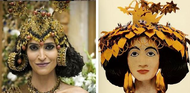 Enlila (Maria Joana) e ao lado joias reais