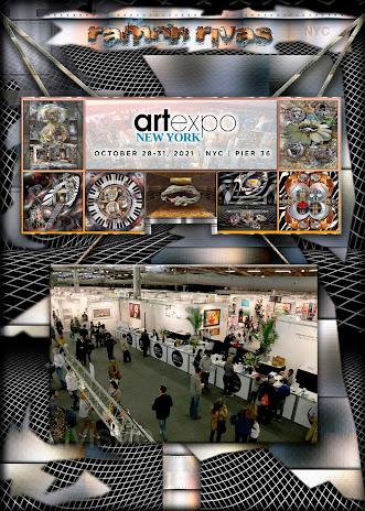 Cartel anunciador de la Artexpo New York 2021, junto a algunas obras de Ramón Rivas