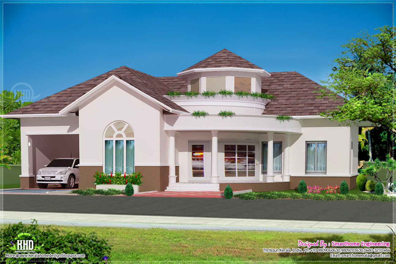 Beautiful single floor 3 bed room villa kerala home for One level luxury house plans