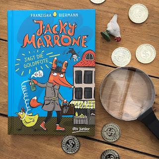 """""""Jacky Marrone jagt die Goldpfote"""" von Franziska Biermann, Verlag dtv junior, Rezension Kinderbuchblog Familienbücherei"""