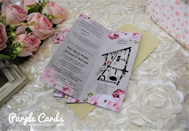kad kahwin, printing, printer, malaysia, kuala lumpur, singapore, malay, muslim, walimatul urus, watercolour flower, ecard, designer, elegant, bespoke, design, custom made, one fold card