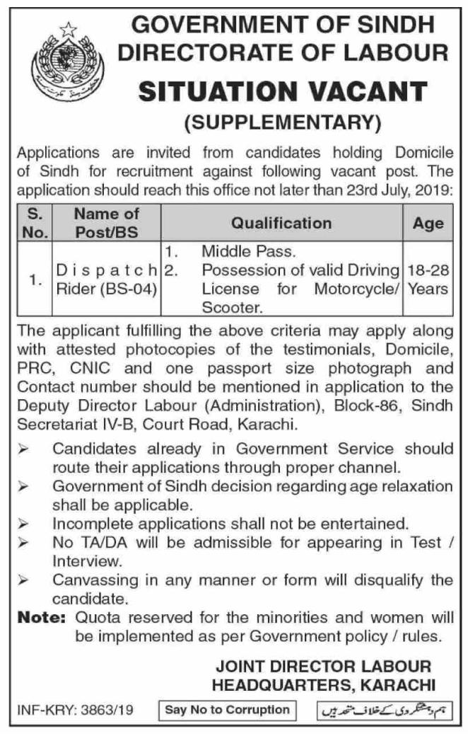 Labour Department Labor Posts Karachi 2019