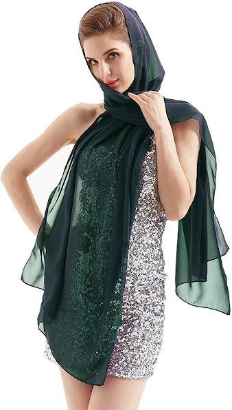 Best Long Green Chiffon Scarves