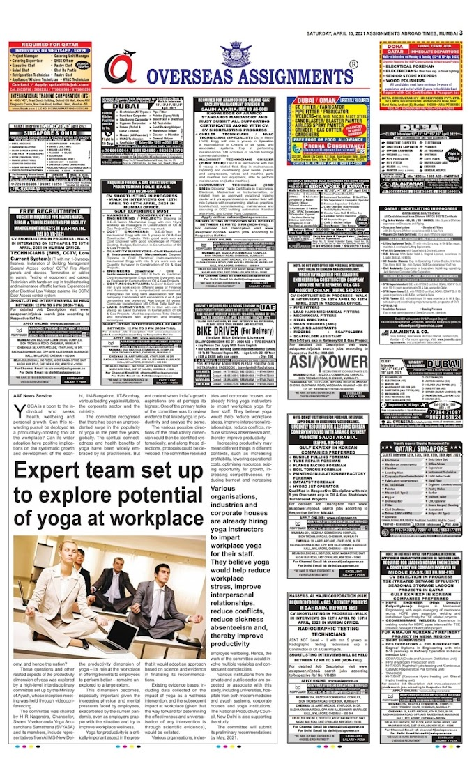 ASSIGNMENTS ABROAD TIMES JOBS TODAY 10 / APRIL /2021