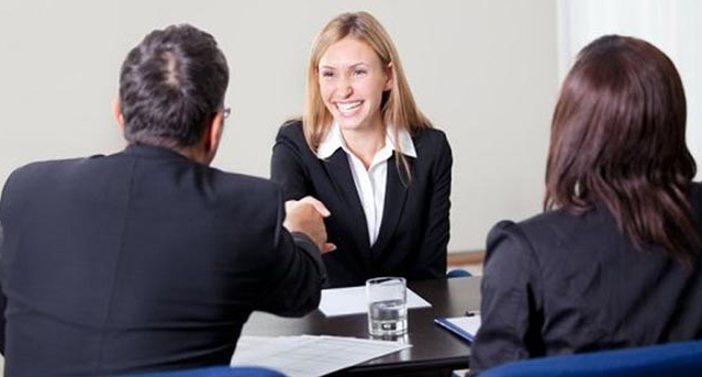 Job interview lady smiling