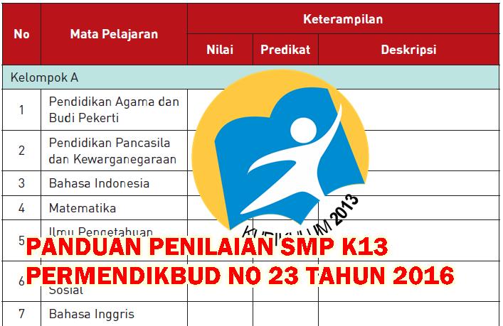Panduan Penilaian Smp Permendikbud 23 Tahun 2016 Kurikulum 2013 Revisi Kurikulum 2013 Revisi