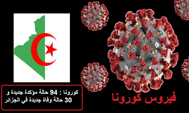 كورونا : 94 حالة مؤكدة جديدة و 30 حالة وفاة جديدة في الجزائر