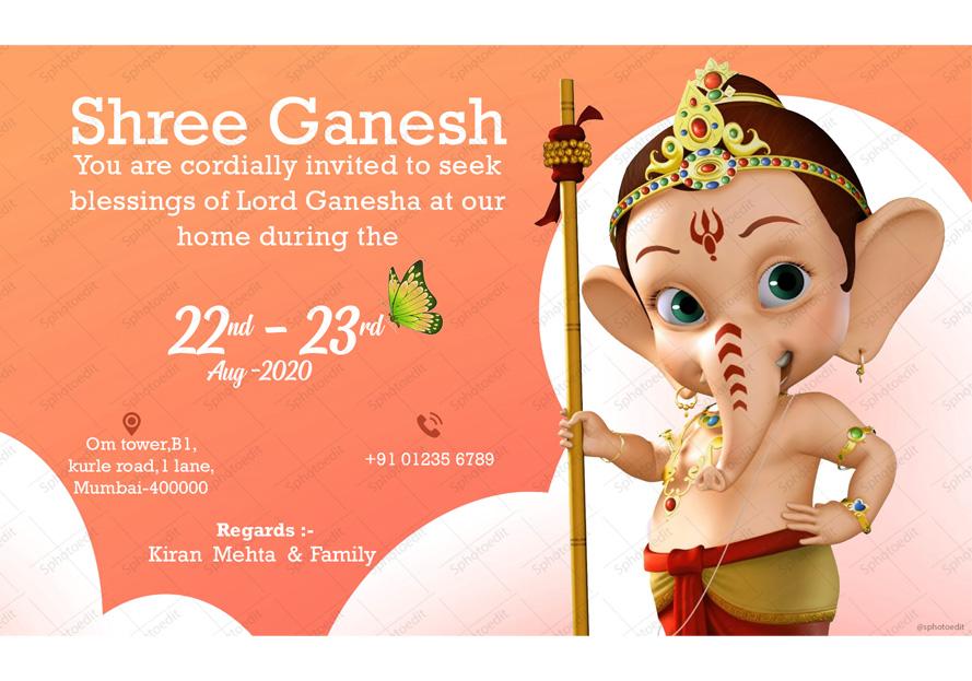 Ganesh Chaturthi 2020 E-Invitation Cards - Sphotoedit ...