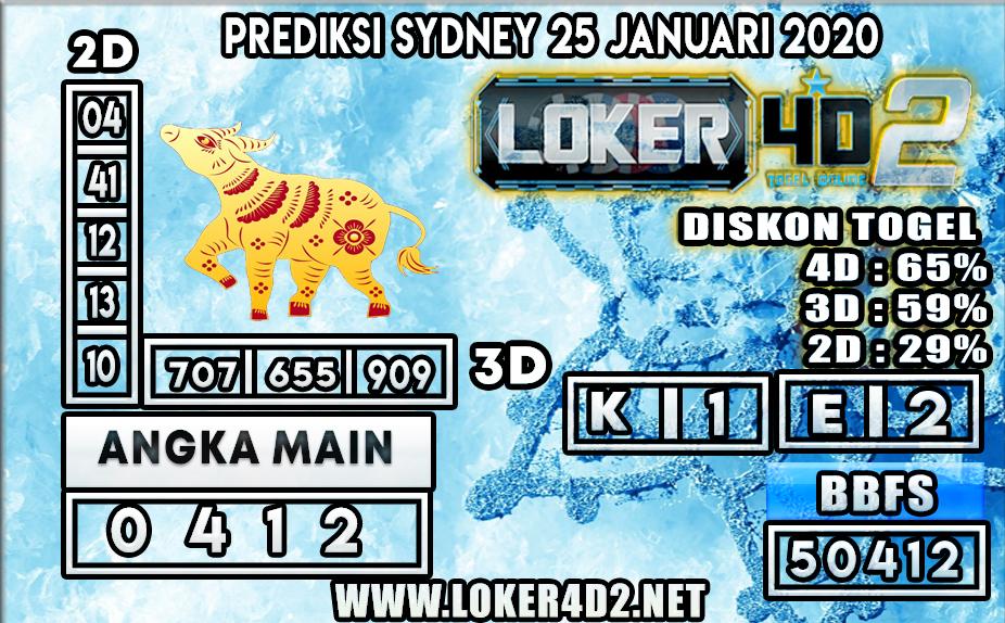 PREDIKSI TOGEL SYDNEY LOKER4D2 25 JANUARI 2020