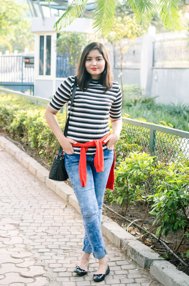 Black and White Striped Tshirt & Ballet Flats