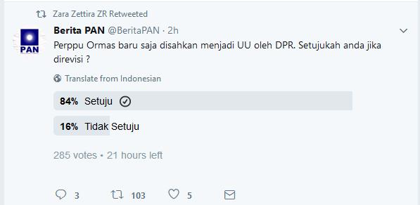 Vote Perppu Ormas Nomor 2 Tahun 2017