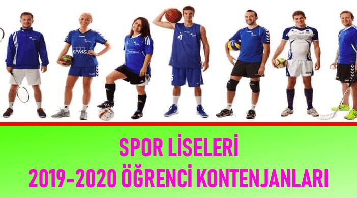 Spor Liseleri Öğrenci Kontenjanları 2019 - 2020