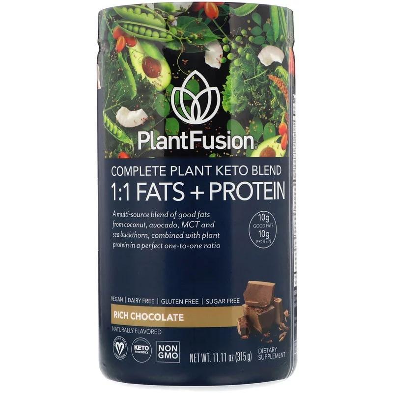 PlantFusion, Растительный комплекс для кетодиеты, жиры и белки 1:1, со вкусом шоколада, 315 г