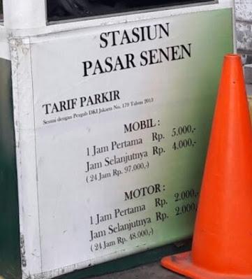 Tarif parkir inap stasiun pasar senen