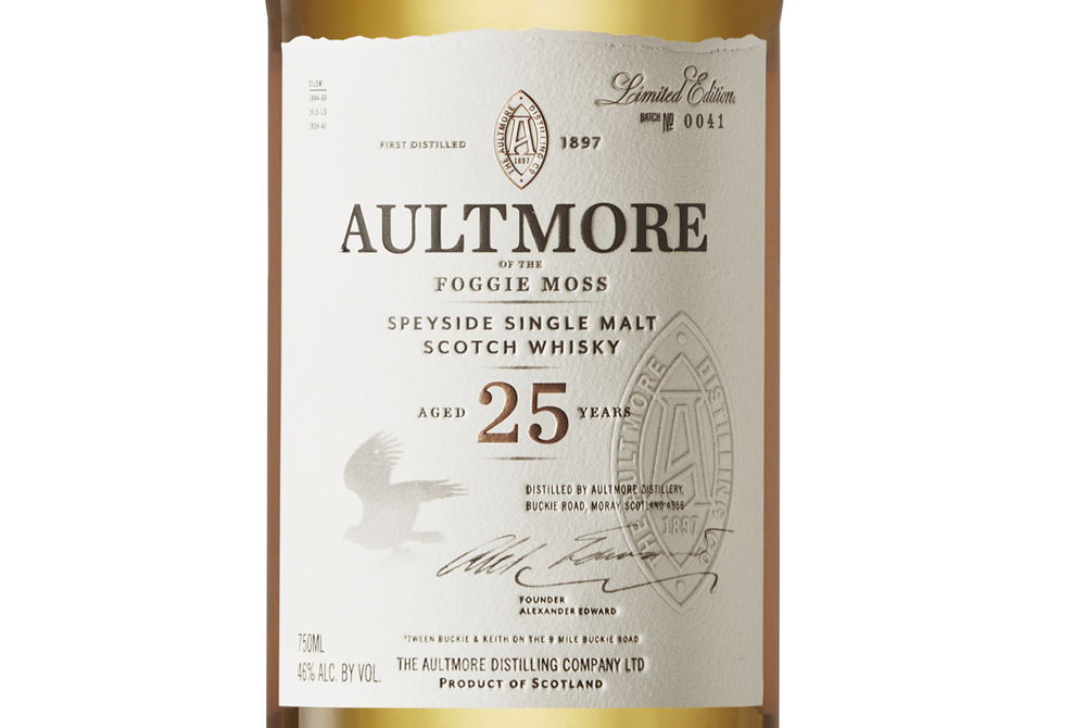 Aultmore 25 label
