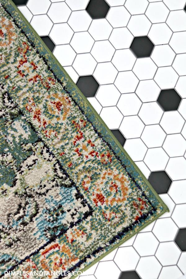 safavieh monaco green runner rug, black and white hex tile floor, kids jack and jill bathroom