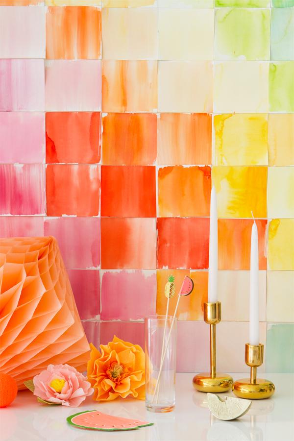 Diy watercolor backdrop by Habitan2 | Haz tu misma un fondo para tu mesa dulce | Fondo handmade de acuarela para una candy bar llena de color