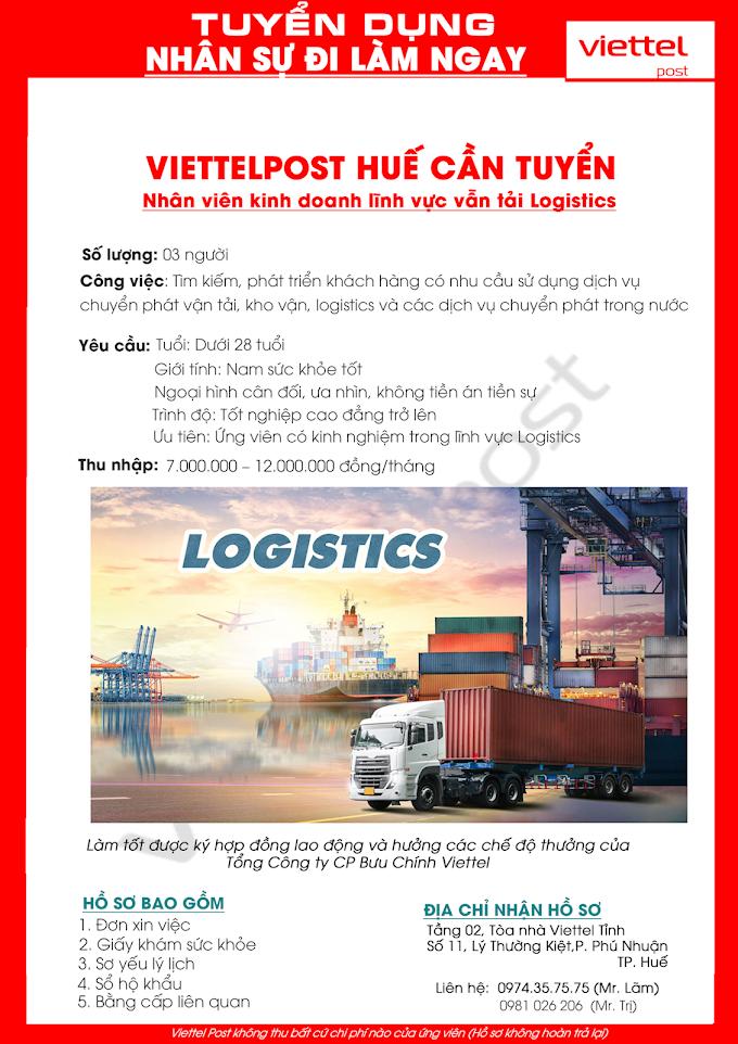 ViettelPost Huế tuyển dụng nhân viên kinh doanh Logistics